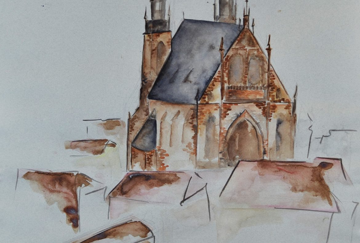 watercolor painting czech republic brno
