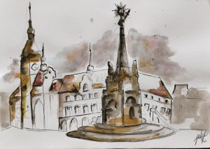 watercolor painting czech republic olomouc
