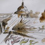 watercolor painting czech republic kromeriz