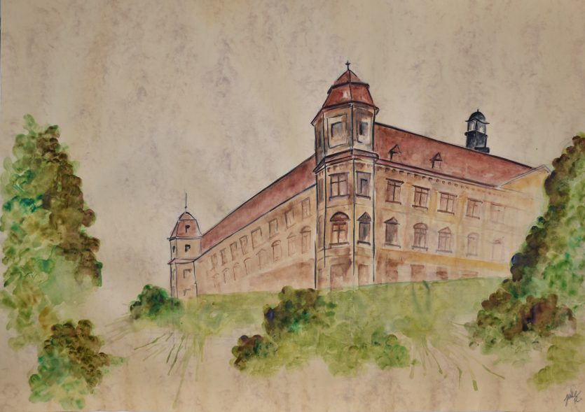 watercolor painting czech republic Holesov