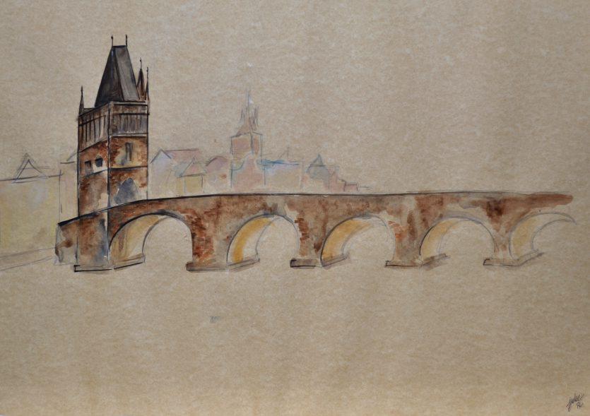 watercolor painting czech republic praha