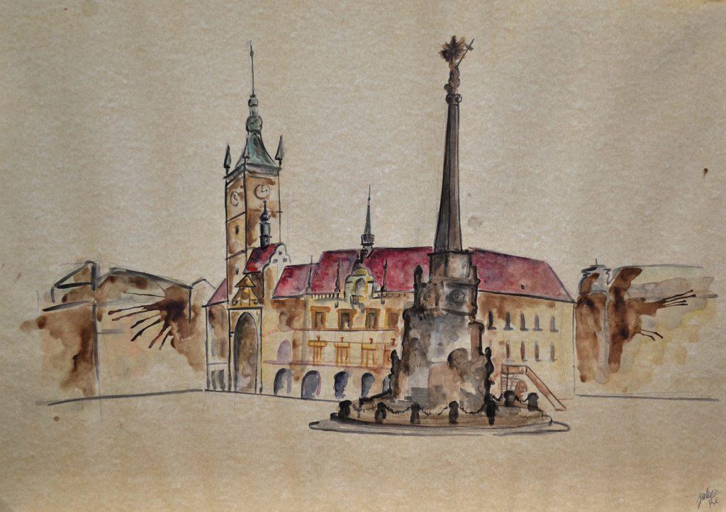watercolor painting czech republic olomouc