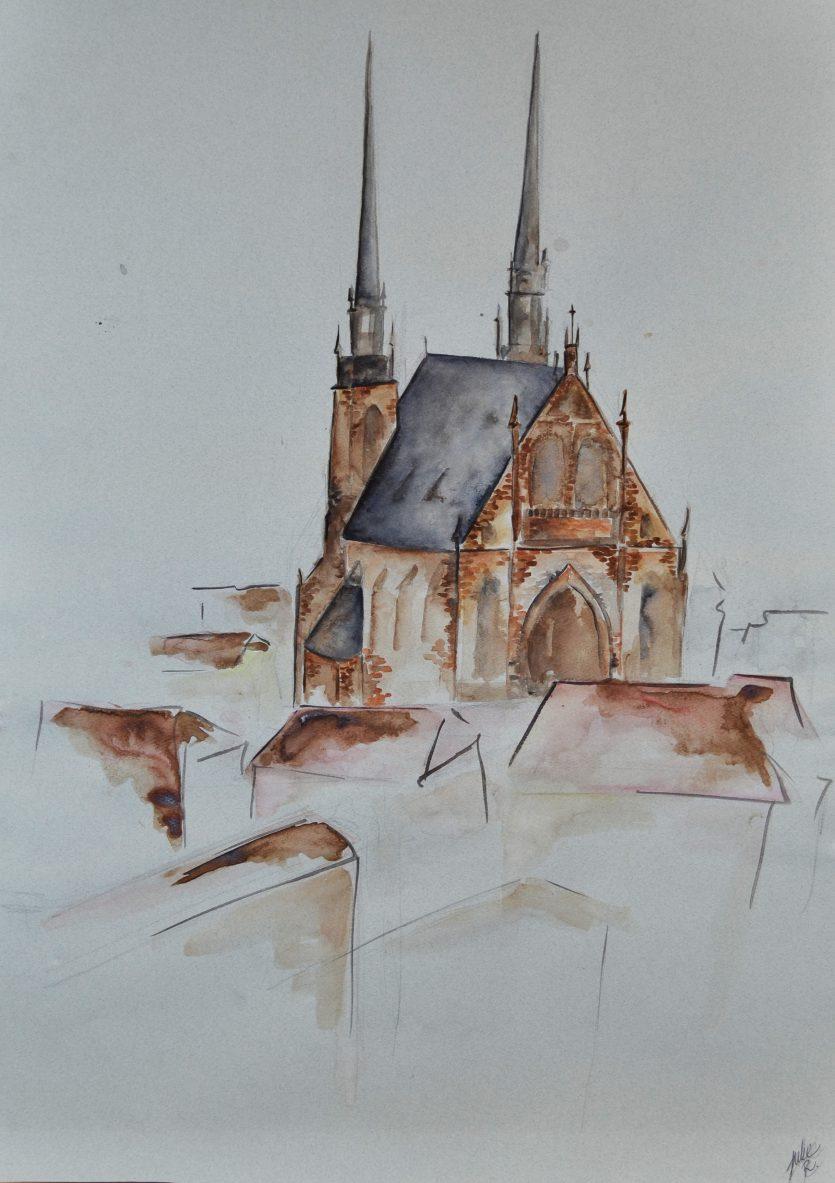 watercolor painting czech republic brno