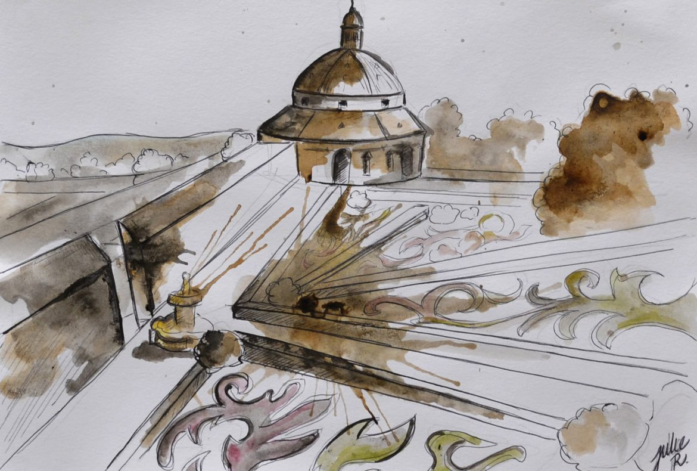 watercolor painting czech republic kromeriz