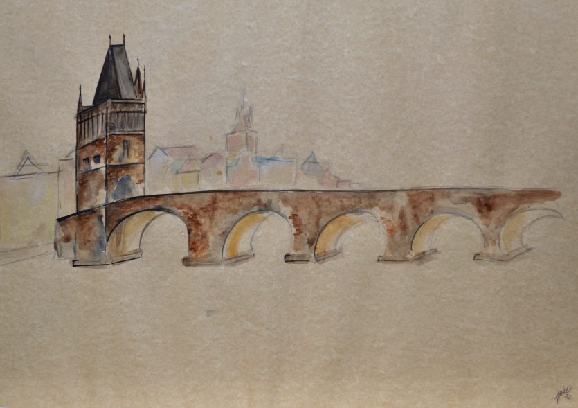 watercolor painting czech republic praha