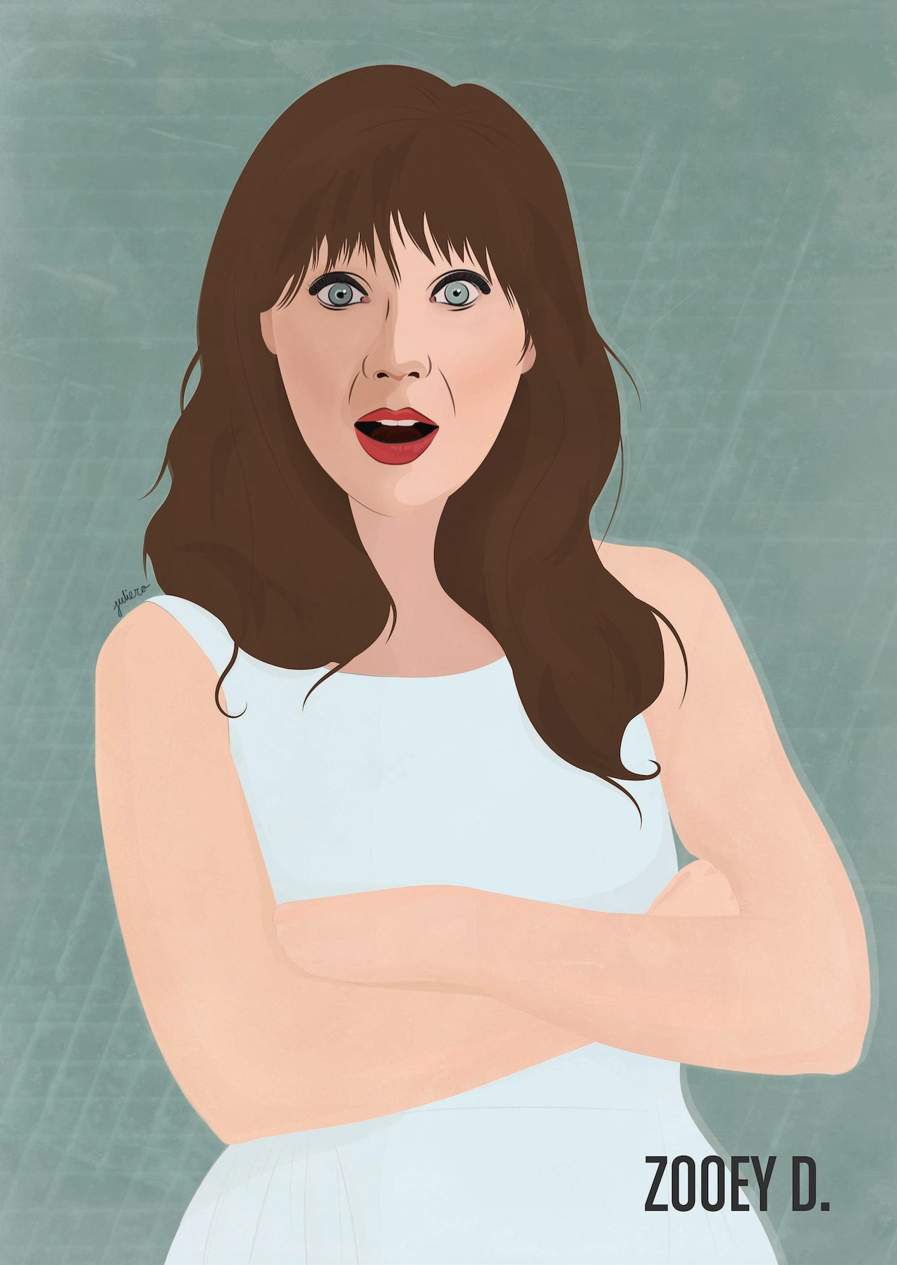 Portrait illustration Zooey Deschanel Juliero